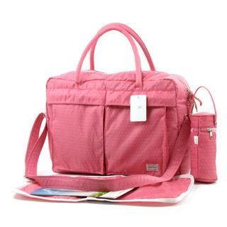 YABIN時尚小波點超大容量媽媽包爸爸包-粉色