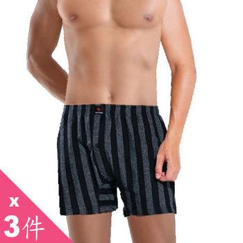 【UNICORN】精梳棉 平口褲(黑條紋--3入)