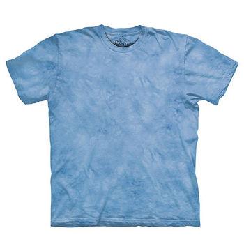 【摩達客】(預購)美國進口The Mountain純棉 黎明藍 環保藝術波紋底紮染T恤
