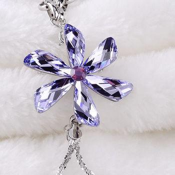 新光飾品-新款施華洛水晶藍色水晶毛衣項鍊