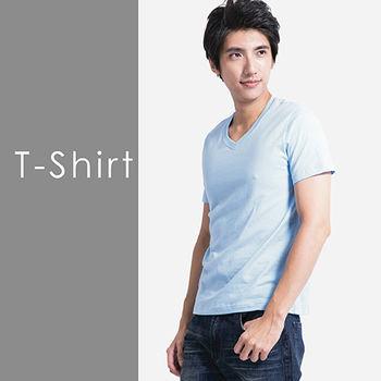 【Highly】型男百分百純棉V領素色T恤(S-XXL) 5色