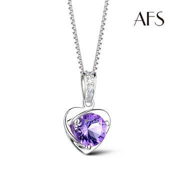 AFS 真心閃耀紫水晶純銀項鍊
