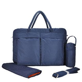 YABIN時尚小波點超大容量媽媽包爸爸包-藍色