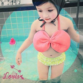 【Lovis 拉維斯】大蝴蝶結 女童泳裝