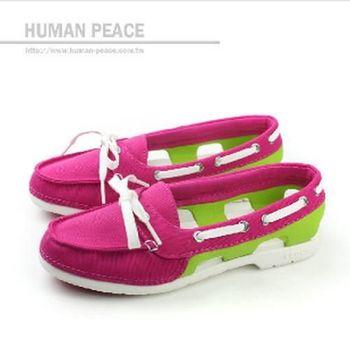 Crocs 帆船鞋 戶外休閒鞋 桃紅 女款 no236