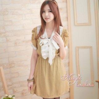 【魔法拉拉】中大碼 荷葉綁帶印花短袖小洋裝S186(魅力黃S)