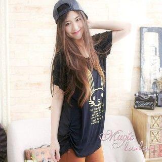 【魔法拉拉】中大碼短袖 可愛燙金小兔T恤A393(獨特黑)