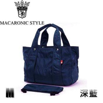 日本品牌 Macaronic Style 2Way 手提 肩側包 2用曼谷包(中)-黑