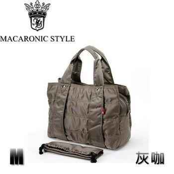 日本品牌 Macaronic Style 2Way 手提 肩側包 2用曼谷包(中)-灰咖