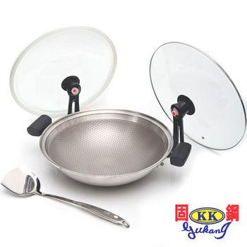 【固鋼】專利節能雙蓋氣密不鏽鋼不沾鍋36cm-經典銀(可關火再煮)