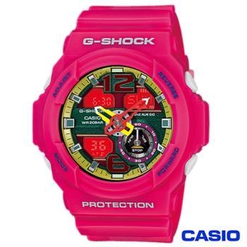 CASIO卡西歐 G-SHOCK超人氣指針數位運動雙顯錶-潮流粉 GA-310-4A