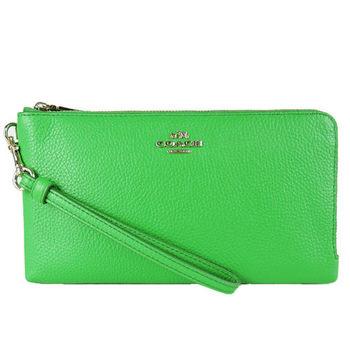 COACH 立體馬車荔枝皮革雙拉鍊長型手拿包(螢光綠)