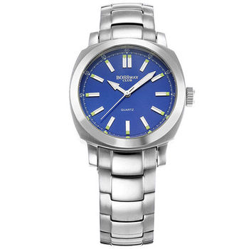 BOSSWAY方中見圓時尚腕錶(白-黑-藍-40mm)