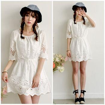 Bubble❤CoCo 純白甜美簍空織花五分袖洋裝DS142(S-L)