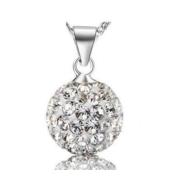 【米蘭精品】滿鑽水晶球925純銀 項鍊 飾品墜子