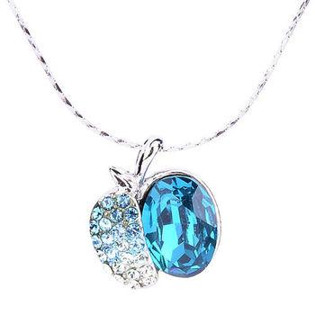 新光飾品-新款施華洛水晶小蝸牛項鍊-藍