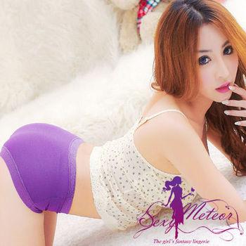 【Sexy Meteor】全尺碼-完美呵護莫代爾花邊中低腰三角內褲(雅柔紫)A1690-03