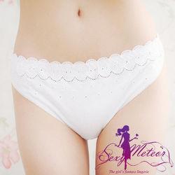大尺碼-織花邊蕾絲棉質丁字褲(純潔白)A924-東 森購物網05