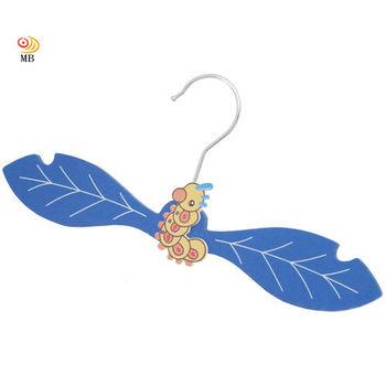 月陽樹葉造型手工彩繪趣味原木兒童衣架超值10入(L5862)