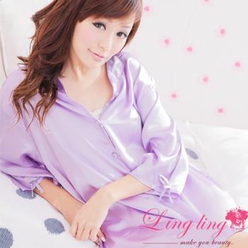 lingling日系 全尺碼-誘惑心機襯衫式絲緞連身睡衣(優雅淺紫)A147-07