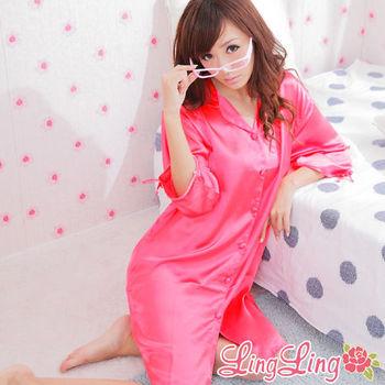 lingling日系 全尺碼-誘惑心機襯衫式絲緞連身睡衣(珊瑚紅)A147-03