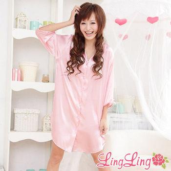 lingling日系 全尺碼-誘惑心機襯衫式絲緞連身睡衣(迷戀情粉)A147-02