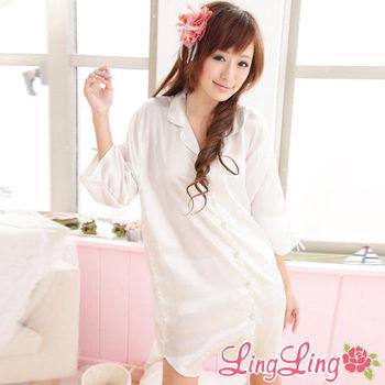 lingling日系 全尺碼-誘惑心機襯衫式絲緞連身睡衣(遐思愛白)A147-01