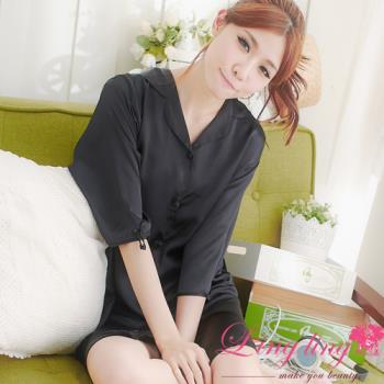 lingling日系 全尺碼-誘惑心機襯衫式絲緞連身睡衣(迷戀黑)A147-08