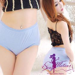全尺碼-飾花邊彈力棉質中腰三角內褲東森購物手機版 孕婦可穿(細膩藍紫)A1713-02