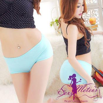 【Sexy Meteor】全尺碼-輕盈彈力包臀莫代爾中低腰三角內褲(淡淺藍)A1691-01