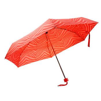 COACH   斑馬條紋晴雨傘_橘紅