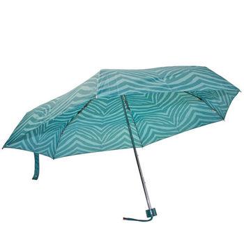 COACH   斑馬條紋晴雨傘_湖水綠