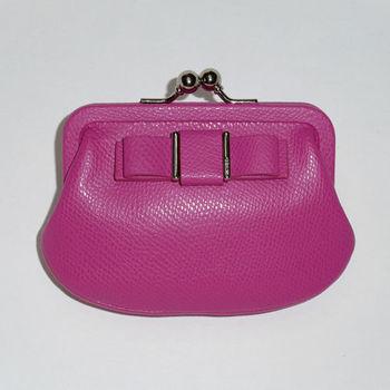 COACH 紫紅皮蝴蝶結珠扣零錢包