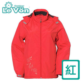 【LeVon】女款防風潑水可拆式連帽刷毛外套 LV3177(紅)