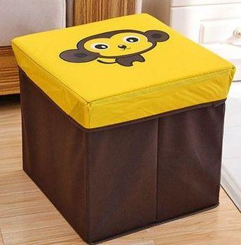 (猴子)復古收納凳大號換鞋凳儲物箱折疊省空間儲物盒兒童玩具收納箱