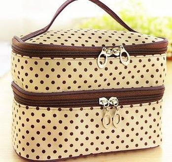 (米色底)雙層化妝箱化妝品收納箱首飾盒大容量化妝包