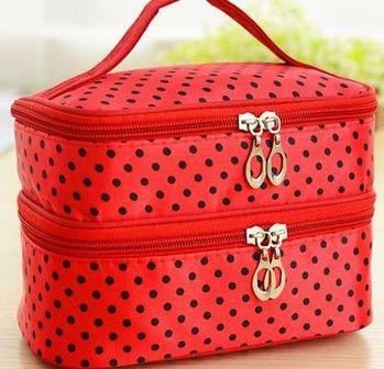 (紅色底)雙層化妝箱化妝品收納箱首飾盒大容量化妝包