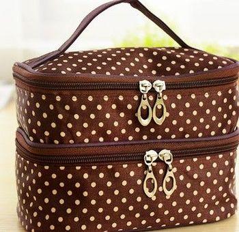 (咖啡底)雙層化妝箱化妝品收納箱首飾盒大容量化妝包