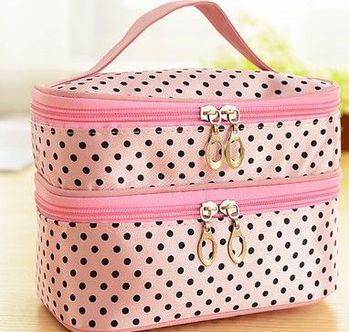 (粉色底)雙層化妝箱化妝品收納箱首飾盒大容量化妝包