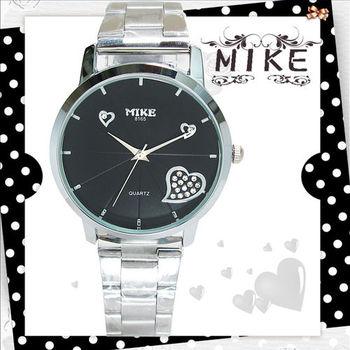 MIKE優雅黑白鑲鑽日本機芯防水錶