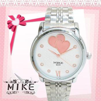 MIKE甜美雙愛心鑲鑽日本機芯防水錶