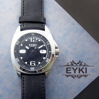 EYKI質感極黑格紋皮錶