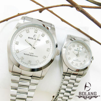 BOLANG淡雅晶鑽刻度 全不銹鋼防水錶