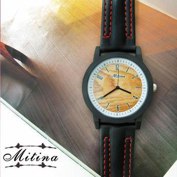 MITINA數字刻度仿木紋質感皮錶