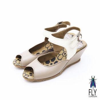 Fly London(女)★雅典娜魚口雙色踝帶楔型鞋 - 貝殼棕
