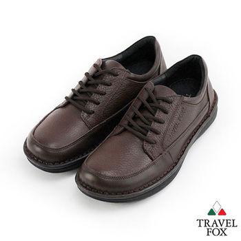 Travel Fox(男) 大心 圓頭牛皮舒適綁帶休閒鞋紳士鞋 - 名士咖