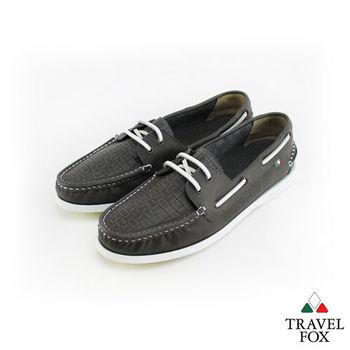 Travel Fox(男)夏的編織三角楦雙眼帆船鞋 - 潮流灰