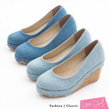 ☆Love Girl☆鄰家女孩-素面單寧雕花滾邊楔型跟鞋