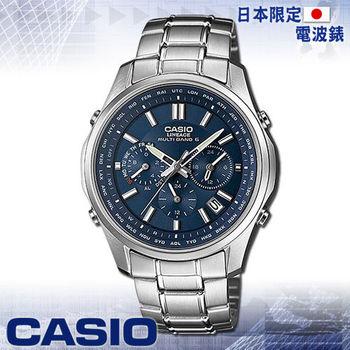 【CASIO 卡西歐】日系_三眼太陽能電波男錶(LIW-M610D 藍)