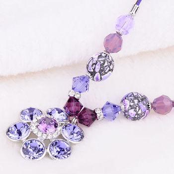 新光飾品-新款施華洛水晶元素藍色花朵水晶項鍊